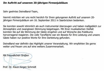 Referenzschreiben der IPL GmbH Saarbrücken, Referenz, schreiben, deineband, deine band , Firmenfeier, Firmenjubiläum